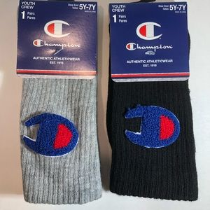 Champion Crew Socks New ( Black & Gray )
